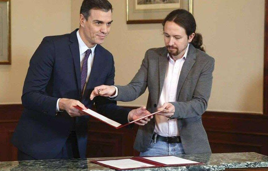 El presidente español Pedro Sánchez y Pablo Iglesias lider de Unidos Podemos.